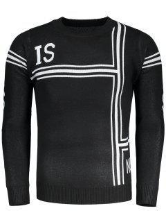 Graphic Pullover Crew Neck Sweater - Black L
