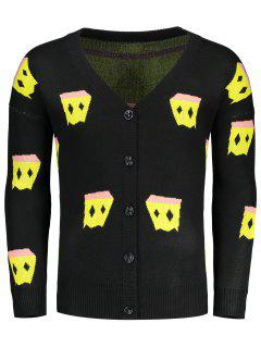 V Neck Patterned Cardigan - Black L