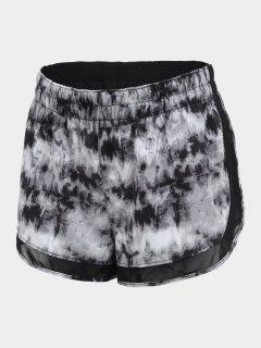 Overlay Drawstring Tie Dyed Sports Shorts - Gray S