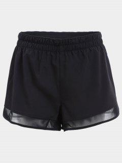 Overlay Mesh Panel Drawstring Sports Shorts - Black M