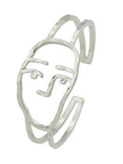 Alloy Funny Face Cuff Bracelet - Silver