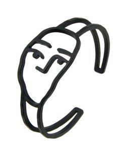 Alloy Funny Face Cuff Bracelet - Black