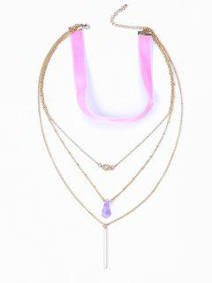 Coloured Ribbon Fake Crystal Layered Necklace - Golden