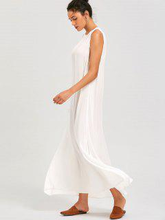 Sleeveless Lace Trim Casual Maxi Dress - White S