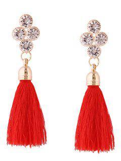 Retro Rhinestone Tassel Drop Earrings - Red