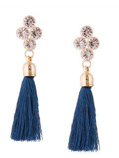 Retro Rhinestone Tassel Drop Earrings - Blue