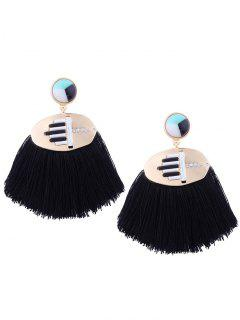 Statement Rhinestone Resin Tassel Earrings - Black