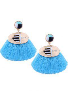 Statement Rhinestone Resin Tassel Earrings - Blue