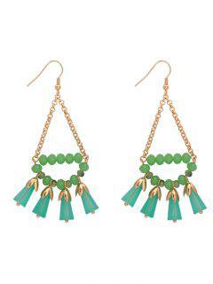 Geometric Beaded Chain Hook Earrings - Green