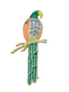 Rhinestone Branch Bird Parrot Brooch - Green
