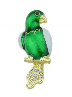 Rhinestone Parrot Bird Embellished Brooch - Green