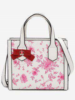 Flower Print Bowknot Handbag - Pink