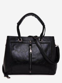 PU Leather Zipper Detailed Tote Bag - Black