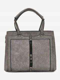 PU Leather Zipper Detailed Tote Bag - Gray