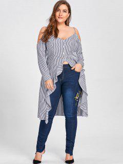 Lange Übergröße Bluse Mit Rüschen Und Kalter Schulter  - Blauer Streifen 5xl