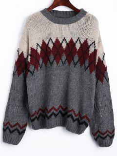 Drop Shoulder Geometric Jacquard Jumper Sweater
