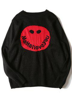 Crew Neck Graphic Smile Face Print Sweater - Black L