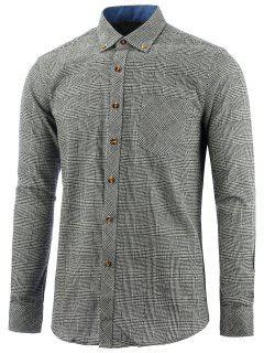 Knopf-unten Brust-Taschen-Kontrolle-Hemd - Grau 4xl