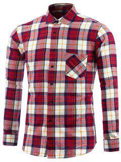 Langarm Tartan Tasche Hemd - Rot 2xl