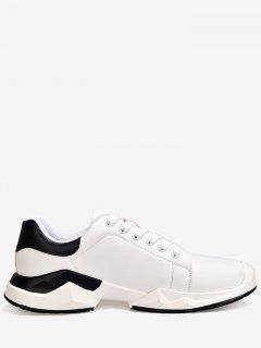 Contrasting Color Stitching Sneakers - White 39