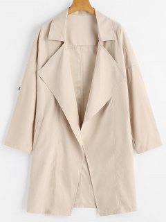Drop Shoulder Lapel Trench Coat - Apricot S