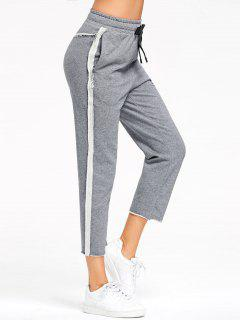 Marled Pantalones De Sudor Recortado - Gris L