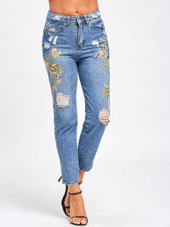 Ripped Floral Embroidered Jeans - Light Blue L