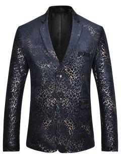 Gold Brocade Print Velvet Casual Blazer - Xl