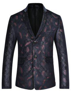 Feather Print Casual Blazer Suit Jacket - Red S