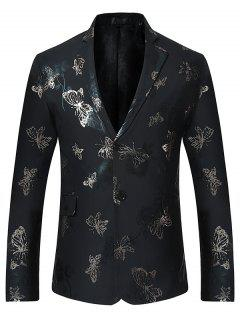 Butterfly Print Casual Floral Blazer - Black S