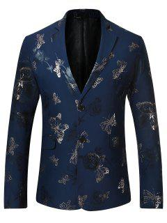 Butterfly Print Casual Floral Blazer - Blue S