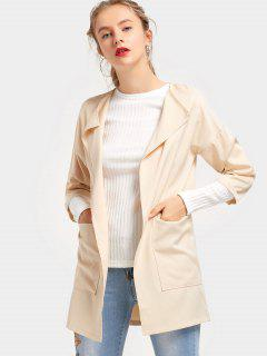 Three Quarter Sleeve Coat With Pockets - Apricot 2xl