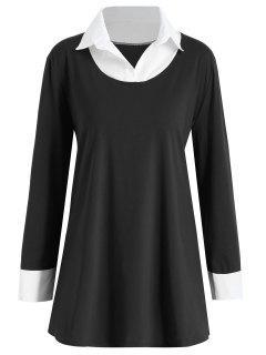 Shirt Collar Plus Size Two Tone Tee - Black 3xl