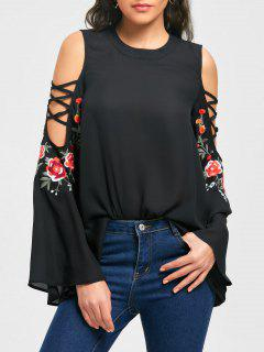 Cold Shoulder Embroidery Flarel Sleeve Blouse - Black 2xl