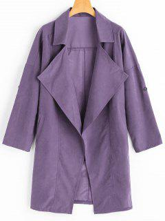 Drop Shoulder Lapel Trench Coat - Light Purple L