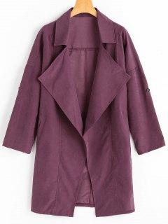 Drop Shoulder Lapel Trench Coat - Purplish Red 2xl