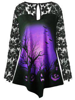 T-Shirt Tunique En Dentelle Motif Citrouille D'Halloween Grande Taille  - Pourpre  Xl