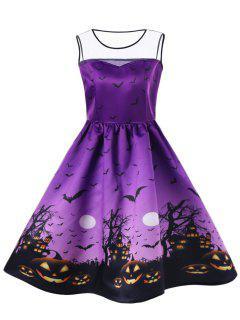 Halloween Plus Size Bat Pumpkin Mesh Insert Dress - Purple Xl