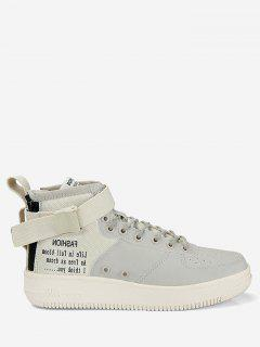 Buckle Strap Letter High Top Sneakers - Beige 40