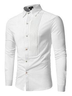 Front Pleated Casual Long Sleeve Shirt - White L