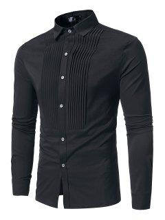 Front Pleated Casual Long Sleeve Shirt - Black S