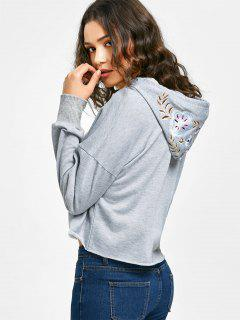Cropped Floral Embroidered Hoodie - Gray L