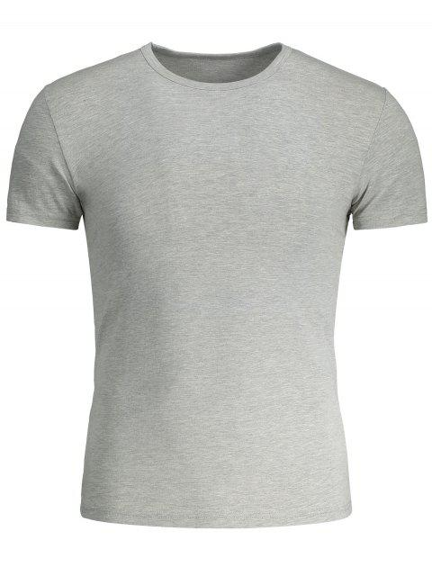 fashion Short Sleeve Slim Fit Tee - GRAY 3XL Mobile