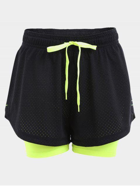 shops Overlay Drawstring Two Tone Sports Shorts - BLACK S Mobile