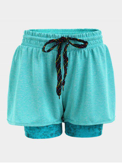 latest Double Layered Plaited Drawstring Sporty Shorts - BLUE L Mobile