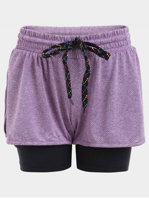fancy Double Layered Plaited Drawstring Sporty Shorts - PURPLE M Mobile