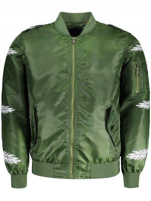 fashion Feather Print Bomber Jacket - GREEN 3XL Mobile