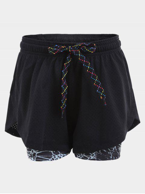 Overlay geflochtene Drawstring Sport Shorts - Schwarz L Mobile