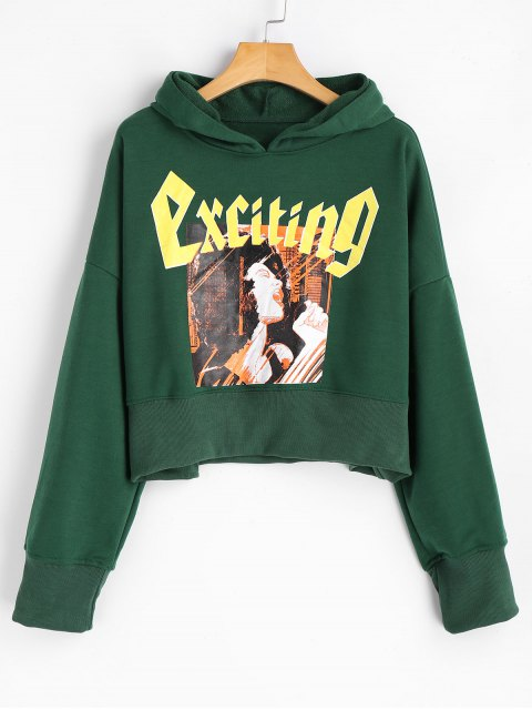 Crop Cartoon-Buchstabe Hoodie - Grün S Mobile