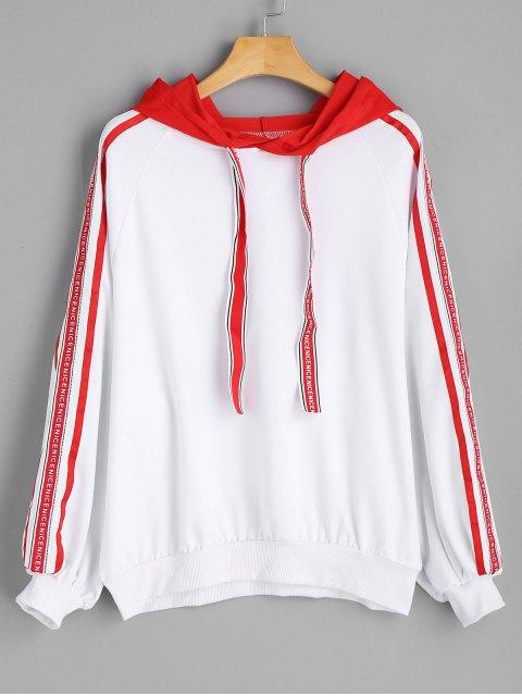 Kontrastierendes Hoodie mit Bänder Trimmung und Buchstabe - Rot M Mobile